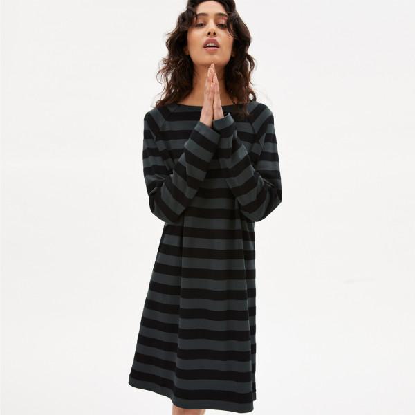 Jerseykleid Danikaa Stripe - Vintage Green Black