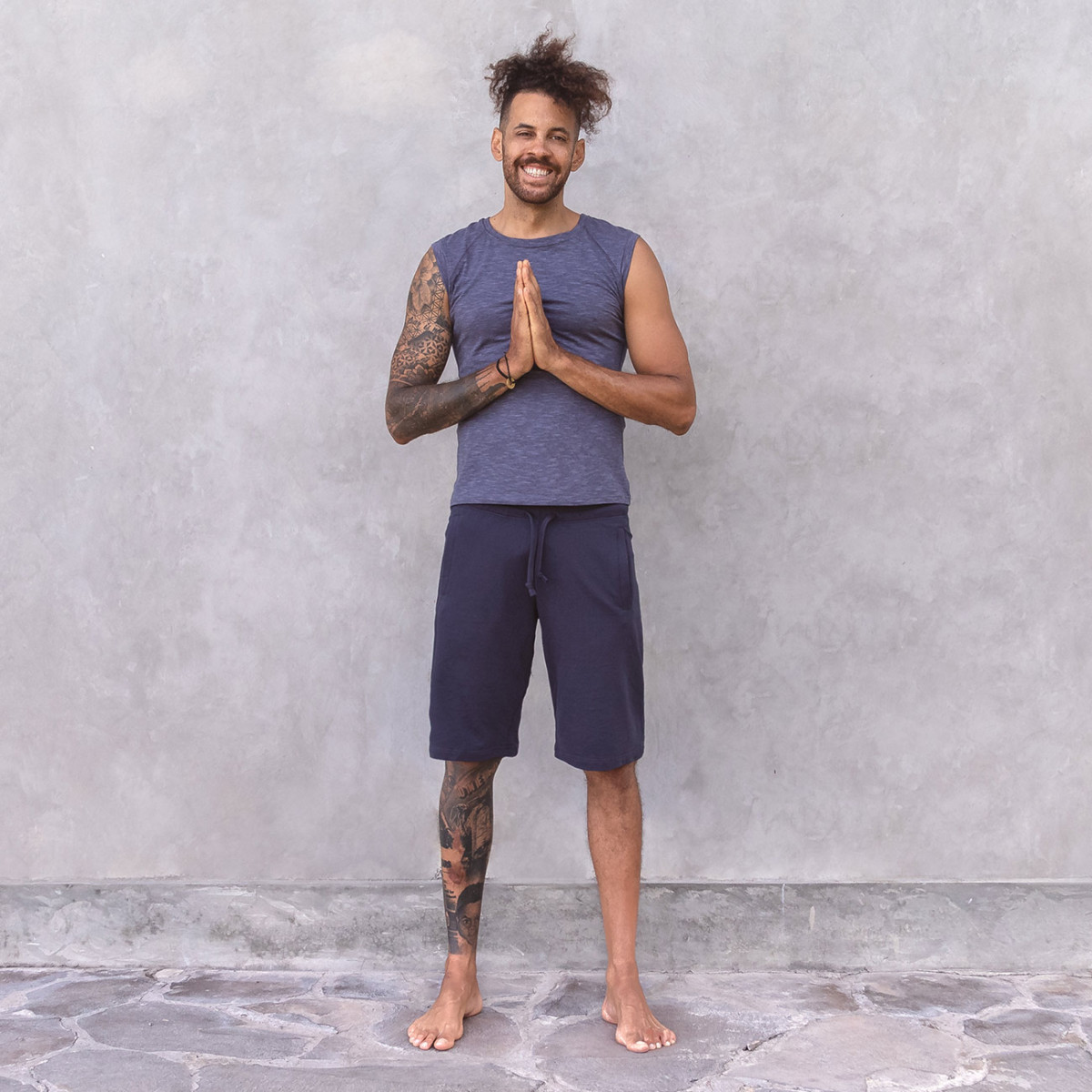 shirt jack - night blue melange | t-shirts | herren | yoga