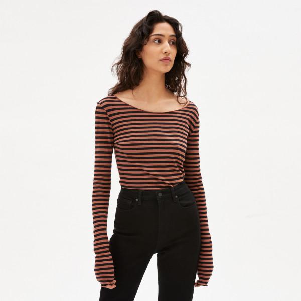 Langarmshirt Evvaa Stripes - Copper Glow Black